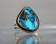 Vintage Navajo Ring Bisbee Turquoise Vintage Silver Ring Size 9 Natural Turquoise Ring Navajo Tribe Jewelry DanPickedMinerals