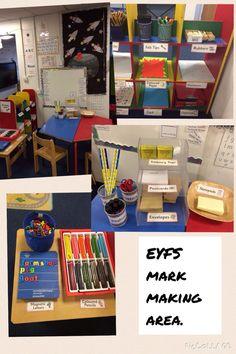 Mark making resource shelf (coloured bookshelf that I've got) Eyfs Classroom, Classroom Layout, Classroom Organisation, Eyfs Activities, Nursery Activities, Writing Activities, Writing Station, Writing Area, Writing Skills