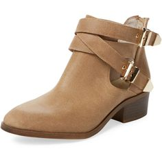 Seychelles Women's Scoundrel Low Heel Bootie - Cream/Tan - Size 5 ($69) ❤ liked on Polyvore featuring shoes, boots, ankle booties, platform booties, tan ankle boots, platform boots, short leather boots and leather boots