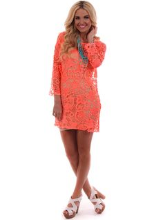 Lime Lush Boutique - Neon Coral Crochet Lace Dress , $49.99 (http://www.limelush.com/neon-coral-crochet-lace-dress/)