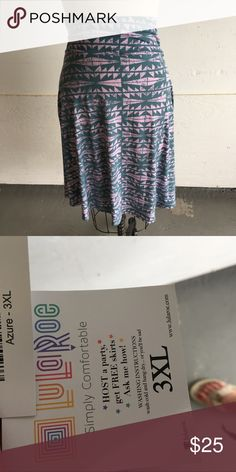NWT LuLaroe Azure Skirt tribal print NWT LuLaroe Azure Skirt tribal print. Awesome colors and print. Soft and super comfortable. LuLaRoe Skirts