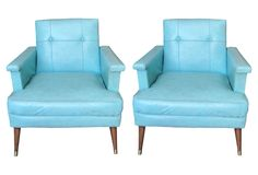 1960s Turquoise Danish Chairs, Pair  one kings lane