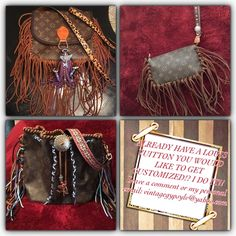 ‼️Authetic Louis Vuitton‼️ Leather fringe ‼️ VALENTINES DAY ‼️ is around the corner and these authentic fringed out vintage Louis Vuitton purses are the PERFECT gift!! Also, if you already have a Louis Vuitton or any purse you would like fringed out, I can do it!  message me!   Top left Saint Cloud GM crossbody-$900  Top right Pochette wristlet-$450  Bottom left Noe-$550 #vintagegypsy Louis Vuitton Bags Shoulder Bags