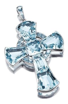 An aquamarine and platinum cross pendant. The stylised Iona cross set with fancy- and cushion-shaped, step- and calibré-cut aquamarines, mounted in platinum. Aquamarine Pendant, Aquamarine Jewelry, My Birthstone, Cross Jewelry, Royal Jewels, Boho Necklace, Cross Pendant, Pendant Jewelry, Birthstones