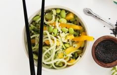 Sesame-Ginger Cucumber Noodles With Mint and Edamame [Vegan] | One Green Planet