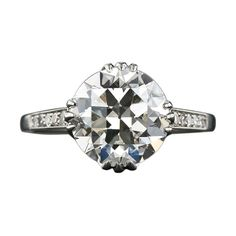 3.18 Carat European-Cut Diamond Solitaire