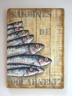 SARDINES DE DOUARNENEZ (Peinture),  40x70 cm par Philippe Coeurdevey Petites planches de bois peintes et cirées.