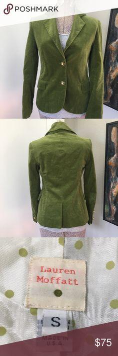 Lauren Moffatt Green Velvet Blazer I just adore this piece.  The buttons are amazing too! Lauren Moffatt Jackets & Coats Blazers