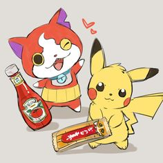 Pokemon x Yo-Kai Watch crossover | Pikachu loves Ketchup and Jibanyan loves choco bars