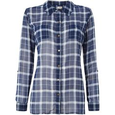 Linea Weekend Checkered woven blouse (1,515 INR) ❤ liked on Polyvore featuring tops, blouses, blue, shirts, long sleeve shirts, blue long sleeve blouse, blue checked shirt, long sleeve collared shirt and checked shirt