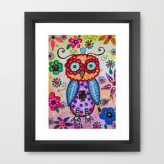 Talavera Whimsical Owl Folk Art Painting Framed Art Print by Prisarts - $56.00; Great gift for birthday, christmas, special occasions, wedding. nursery room design, baby girl boy. designer
