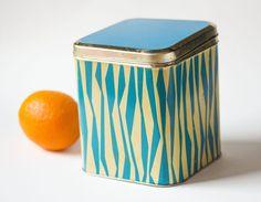 Turquoise beige tin canister modern tin box kitchen by SovietEra