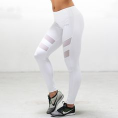 Cutout Mesh Leggings- White