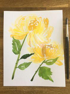 Fuji chrysanthemum watercolour #floralwatercolor Chrysanthemum, Watercolours, Fuji, Floral Watercolor, Art Work, Design Art, Textiles, Summer, Projects
