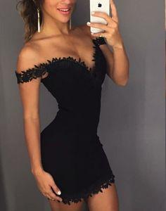 Black Party Dress,Off Shoulder Party Dress,Lace Cocktail Dress,YY173