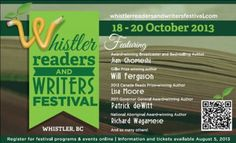 Whistler Readers and Writers Festival Oct 18 - 20, 2013