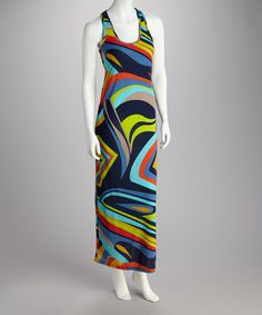Take a look at this Blue & Lime Abstract Racerback Dress by Feathers on #zulily today!