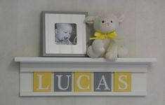 Baby Nursery Shelf - Custom Name Sign - Personalize Letter Blocks YELLOW / GRAY