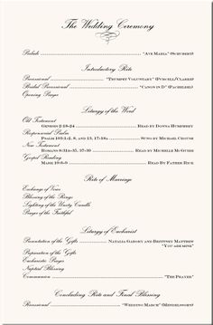 wedding program wording | Wedding Programs-Wedding Program Wording ...