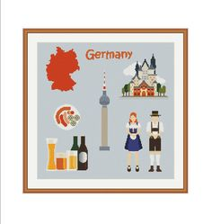 Germany cross stitch Germany map Berlin skyline by StitcheryStitch