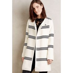 Cartonnier Riband Car Coat ($248) ❤ liked on Polyvore featuring outerwear, coats, ivory, white coat, car-coat, white winter coat, car coat and cartonnier