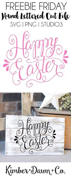 Hand Lettered Happy Easter Free SVG Cut File. Also available as a PNG and .Studio3. | http://kimberdawnco.com