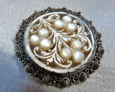 Vintage Carved Mother of Pearl Sterling Silver Brooch Pin