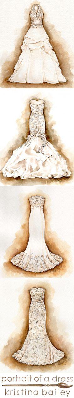 Custom Watercolor Wedding Dress Portraits by Kristina Bailey. Great #wedding #gift or #firstanniversary gift www.portraitofadress.com