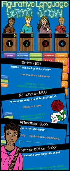 Figurative Language Jeopardy style game show for 4th-9th Grade!  Want to have some fun practicing figurative speech? Here is a suggestion: a GAME SHOW!! Includes similes, metaphors, alliteration, personification, and idioms. $
