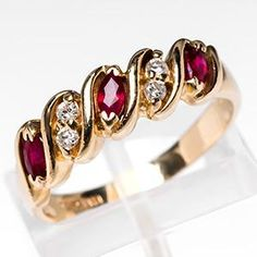 Ruby & Diamond Anniversary Band Ring 14K Gold