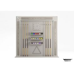 Cue rack Frame A cm.193x17xh.188 with quarz clock and triangle. Structure in lacquered matt colors. Decoration in embridered nabuk leather + stainless steel profiles. Inclusive of ball set diam.57 mm + wooden cue set (6 pieces) cm145