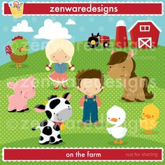 Description:  On the farm is a great place to be! These cute little characters are so sweet! Precious farming graphics for the perfect cards, tote bags and monogramming! This set is wonderful for party invitations and notepads. The simple lines are great for embroidery as well! (The polka dot hills & sky background is included.)