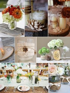 Unique Rustic Wedding Ideas — Wedding Ideas, Wedding Trends, and Wedding Galleries Diy Candle Base, Rustic Table Centerpieces, White Centerpiece, Wedding Trends, Wedding Ideas, Wedding Stuff, Wedding Inspiration, Wedding Decorations, Table Decorations