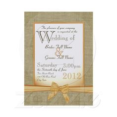 Burlap and Bow Orange Country Wedding Invite from Zazzle.com
