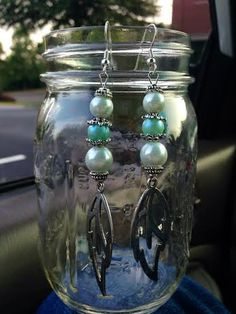 Pearl and Turquoise Feather Drop Earrings by CreativelyCraftedGA