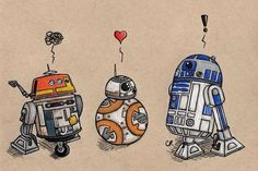 """""""Droids"""" by Christie Cox, signed 5X7 print - donated by the artist"""