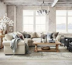 Pearce Roll Arm Upholstered 4-Piece Chaise Sectional with Wedge | Pottery Barn #livingroomideasdecor