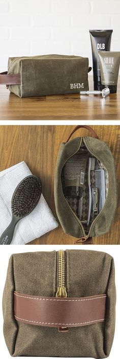 Men's toiletry bags make memorable and useful groomsmen gifts every guy in your wedding party will appreciate. Turn each toiletry bag into a dopp kit by adding a few items your best man or groomsman are sure to need like a lint brush, soap and toothbrush Wedding Gifts For Groomsmen, Wedding Gift Bags, Gifts For Wedding Party, Groomsman Gifts, Groomsmen Gifts Unique, Groomsmen Proposal, Unique Gifts For Men, Bridal Parties, Wedding Ideas