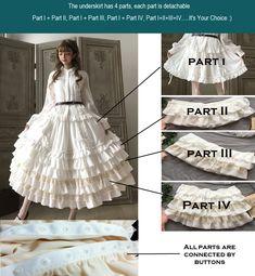 Little Dipper -Classic Mary- Vintage Classic Lolita Skirt Underskirt Baby Dress Patterns, Skirt Patterns Sewing, Doll Clothes Patterns, Sewing Clothes, Clothing Patterns, Diy Clothes, Fashion Design Classes, Estilo Lolita, Victorian Costume