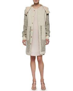 Tweed Hooded Anorak & Long-Sleeve Silk Ruffle-Hem Dress by See by Chloe at Neiman Marcus.