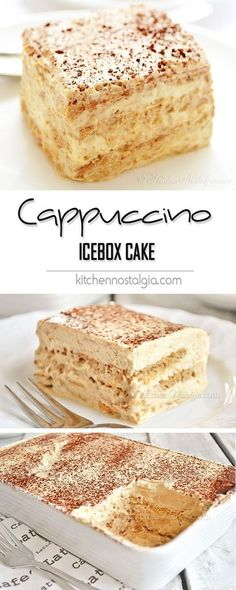 Cappuccino Icebox Cake - easy, no bake treat with graham crackers softened with airy cream-yogurt-cappuccino filling; only 6 ingredients! no bake desserts Cappuccino Icebox Cake Brownie Desserts, Easy Desserts, Delicious Desserts, Baking Desserts, Cake Baking, Bread Baking, Apple Desserts, Best Dessert Recipes, Food Cakes