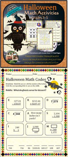 These twelve math puzzles and activities (with answer keys) are a great way to keep kids motivated and productive around Halloween. Students can complete story problems, match answers, break codes, find patterns, complete puzzles - all while reviewing and reinforcing core math concepts and skills including some Common Core concepts. Great for whole group, centers, or individuals. Grades 3-5. 27 pages $