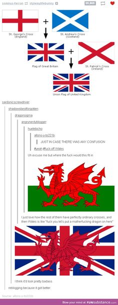 How the flags of the British Isles were made according to Tumblr... I do so love being Welsh. It was a bitch trying to draw it in primary school though.