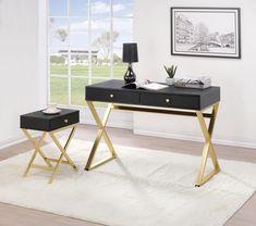 Side Table With Storage, Desk Storage, Home Desk, Home Office Desks, Acme Furniture, Office Furniture, White Furniture, Black Desk, Wooden Desk