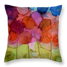 "Floral Orange Throw Pillow by Beth Kluth. Our throw pillows are made from 100% spun polyester poplin fabric and add a stylish statement to any room. Pillows are available in sizes from 14"" x 14"" up to 26"" x 26"". Each pillow is printed on both sides (same image) and includes a concealed zipper and removable insert (if selected) for easy cleaning."
