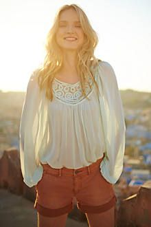 Lace Scroll Peasant Top. #anthropologie