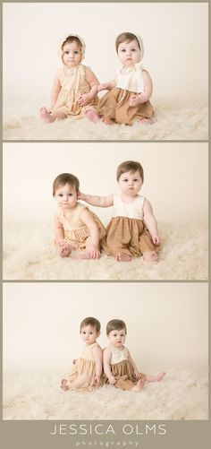 Charlotte and Janine | 9 Months Twin girls cream and gold dresses #babypictures…