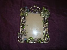 "Kirks Folly Alice in Wonderland Picture Frame Silvertone Crystals   Measures approximately 7-5/8"" x 6"" retailed for 198.0"