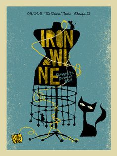 """IRON AND WINE CHICAGO DRESS  by MARK MCDEVITT  18"""" x 24"""" / 185 edition - 3 colors - signed and numbered  $30  http://methanestudios.com/category/posters/page/2?item=4891"""