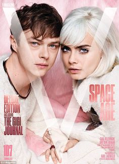 Perfect pair: Cara Delevingne and her co-star Dane DeHaan star on the cover of V magazine's spage age-inspired summer issue